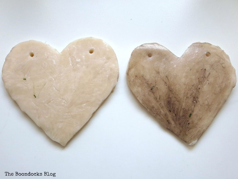 Adding clear wax and dark wax, How to Make a Natural Clay Valentine's Heart Garland www.theboondocksblog.com