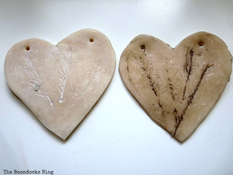 Adding white wax verses dark wax, How to Make a Natural Clay Valentine's Heart Garland www.theboondocksblog.com