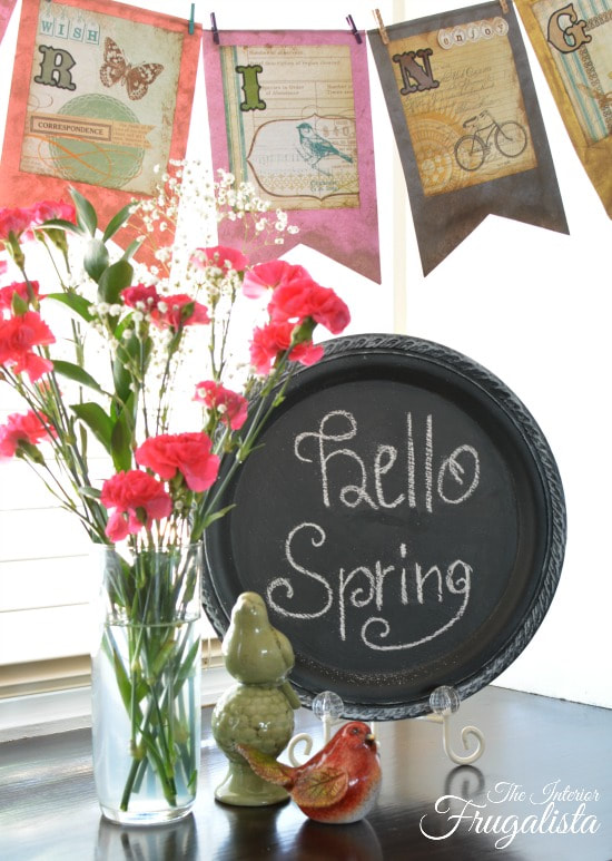 Chalkboard painted trays for spring, 35 Easy Spring Ideas to Inspire You www.theboondocksblog.com