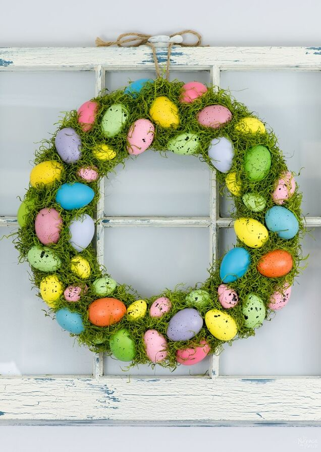 Spring wreath made with moss and eggs, 35 Easy Spring Ideas to Inspire You www.theboondocksblog.com
