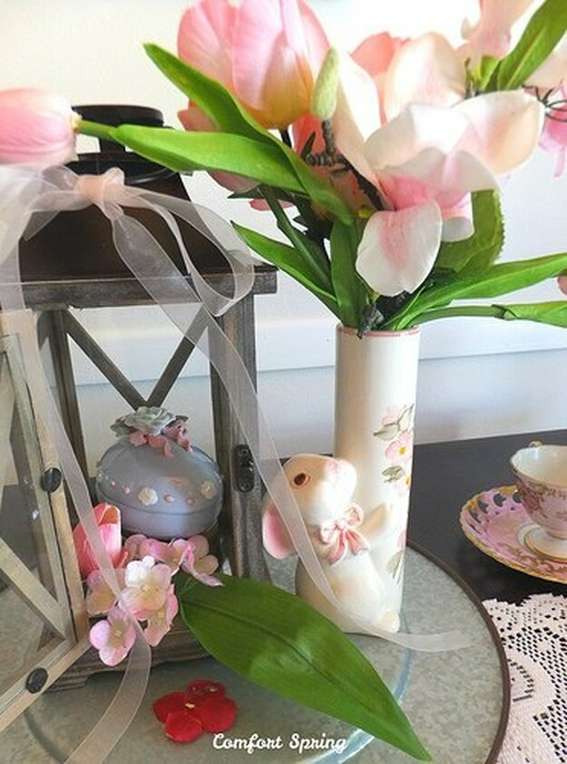 Spring centerpiece with flowers and bunny, 35 Easy Spring Ideas to Inspire You www.theboondocksblog.com