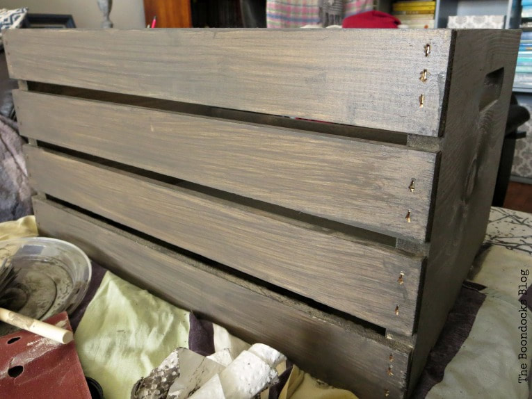 After second coat of stain, How to get a stunning finish on a wood crate with stain www.theboondocksblog.com