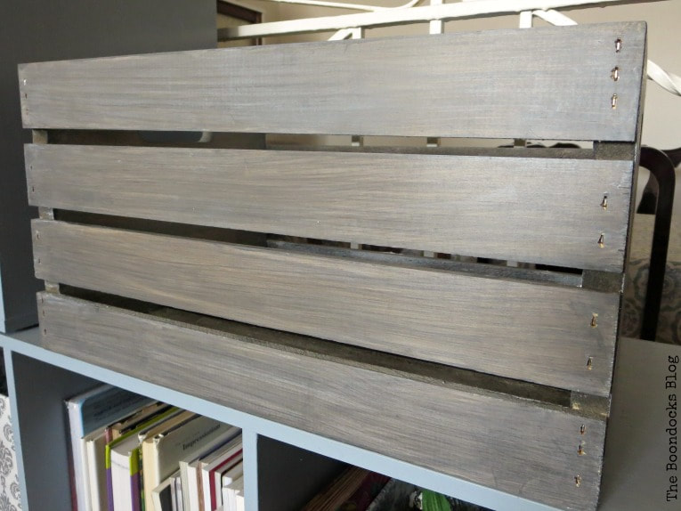 After the white wax has been applied, How to get a stunning finish on a wood crate with stain www.theboondocksblog.com