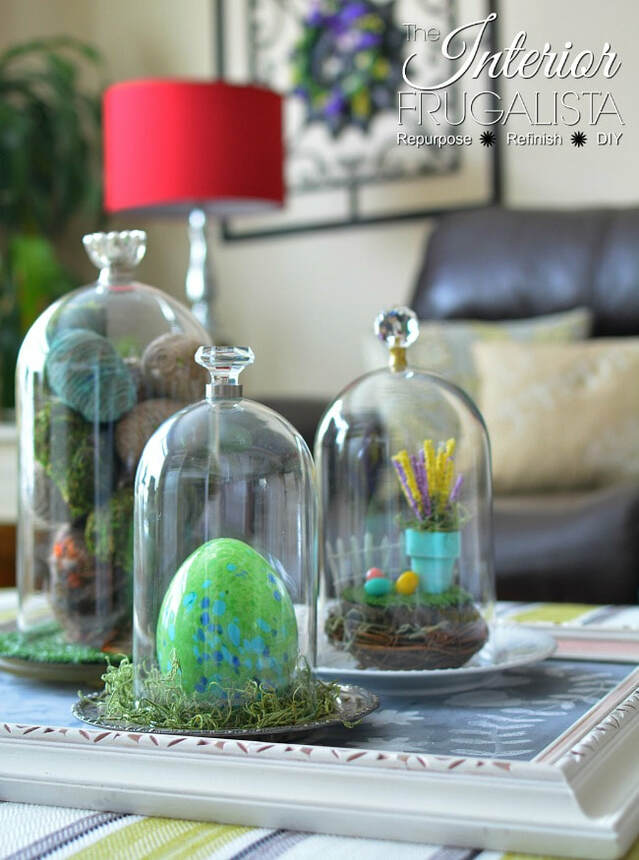 Cloches with Easter eggs and spring decor, 35 Easy Spring Ideas to Inspire You www.theboondocksblog.com