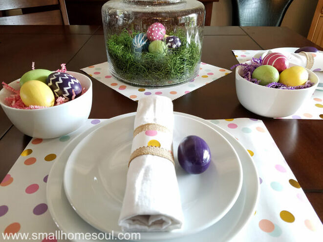 Bright polka dot Easter tablescape, 35 Easy Spring Ideas to Inspire You www.theboondocksblog.com