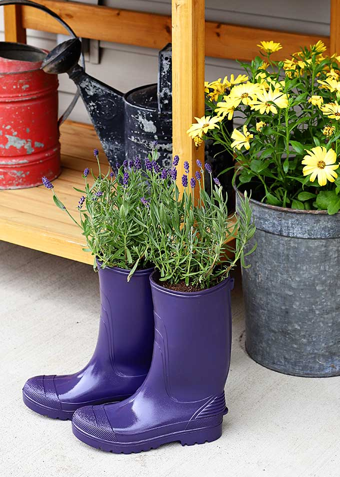 rubber boot planters, 35 Easy Spring Ideas to Inspire You www.theboondocksblog.com