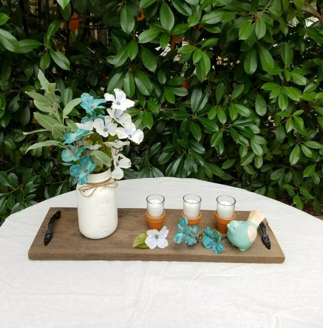 Spring centerpiece on wood tray, 35 Easy Spring Ideas to Inspire You www.theboondocksblog.com