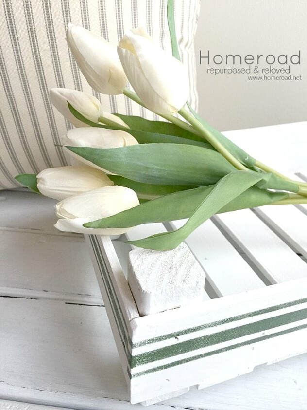 DIY tray made from paint sticks with grain sack stripes, 35 Easy Spring Ideas to Inspire You www.theboondocksblog.com