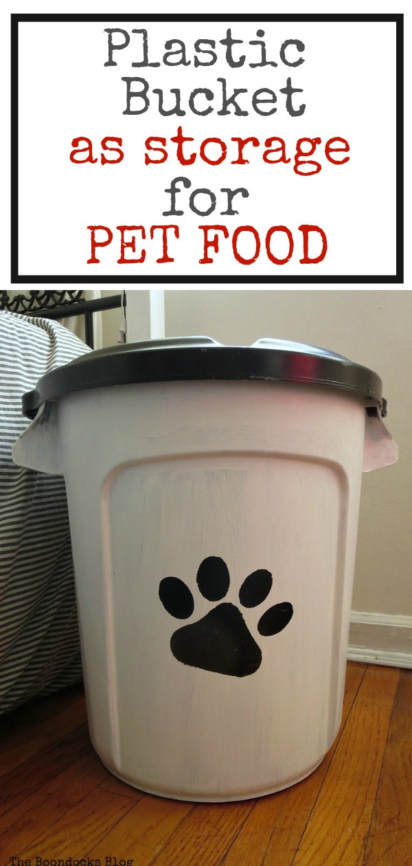 Dog food storage container with text overlay.