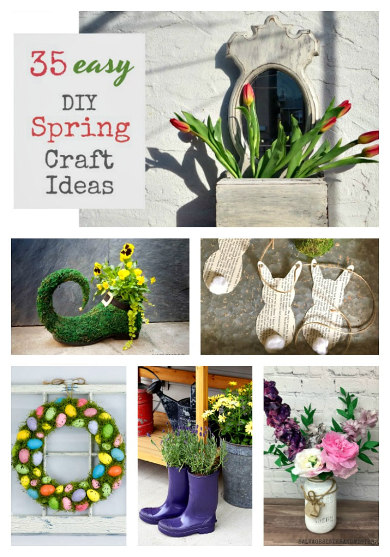 35 easy DIY Spring Craft Ideas including wreaths, planters, tablescapes, wind chimes, centerpieces, wall art, #SpringCrafts #SpringDIYideas #Easyspringdecorideas #springdecor #springfarmhouse 35 Easy Spring Ideas to Inspire You www.theboondocksblog.com
