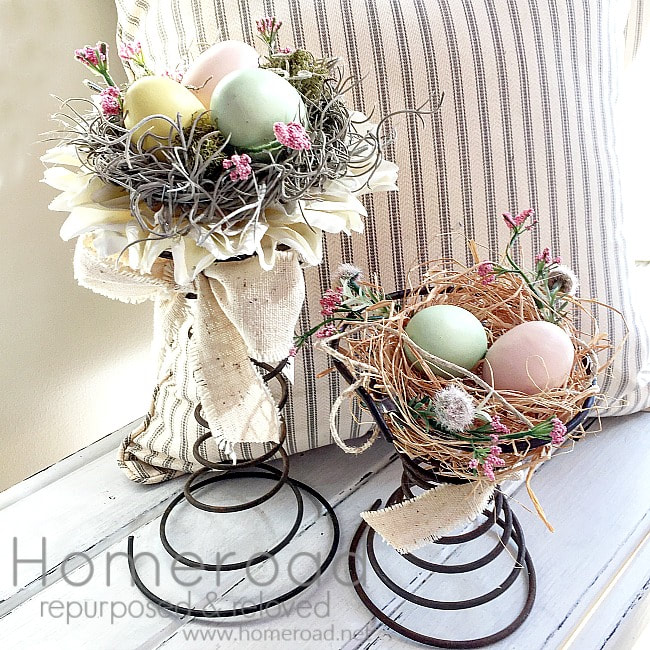 Bed springs repurposed into spring centerpieces, 35 Easy Spring Ideas to Inspire You www.theboondocksblog.com