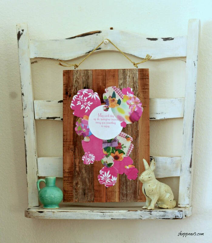 Spring pallet art with greeting cards, 35 Easy Spring Ideas to Inspire You www.theboondocksblog.com