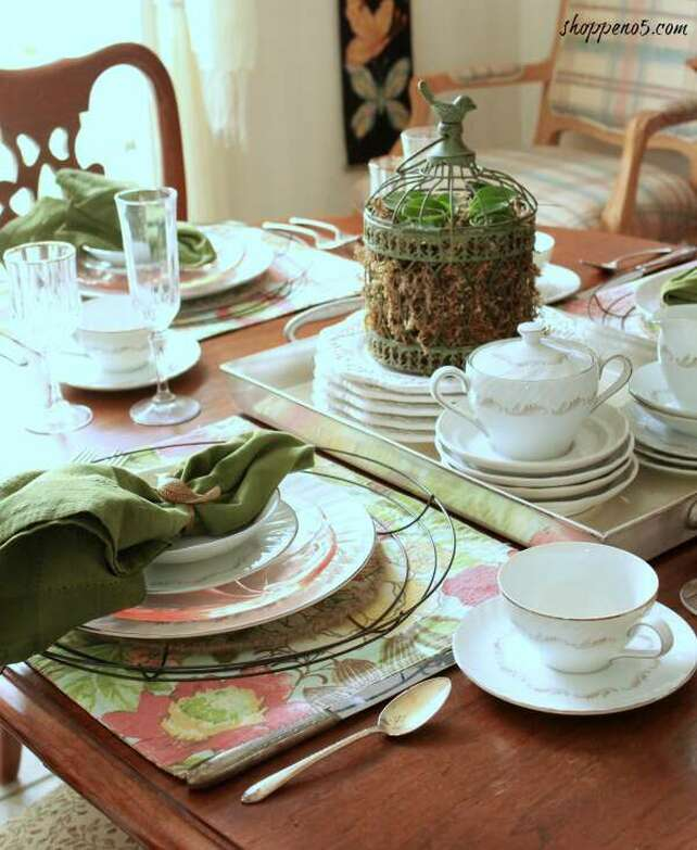 Spring tablescape with green and moss, 35 Easy Spring Ideas to Inspire You www.theboondocksblog.com