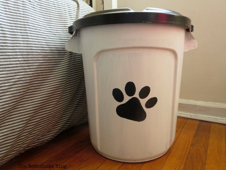 Finished dog food storage container.