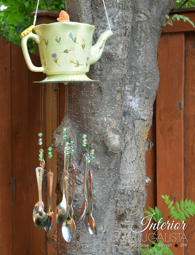Wind chime using teapot, 35 Easy Spring Ideas to Inspire You www.theboondocksblog.com