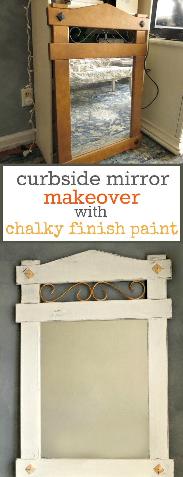 Wood mirror painted with chalky finish paint and gold metallic paint, distressed and waxed for a vintage farmhouse look, #mirrormakeover #distressedlook #vintagelook #farmhousestyle #lazyDIY #curbsidefind #chalkyfinishpaint How to Makeover a Curbside Mirror the Lazy Way www.theboondocksblog.com