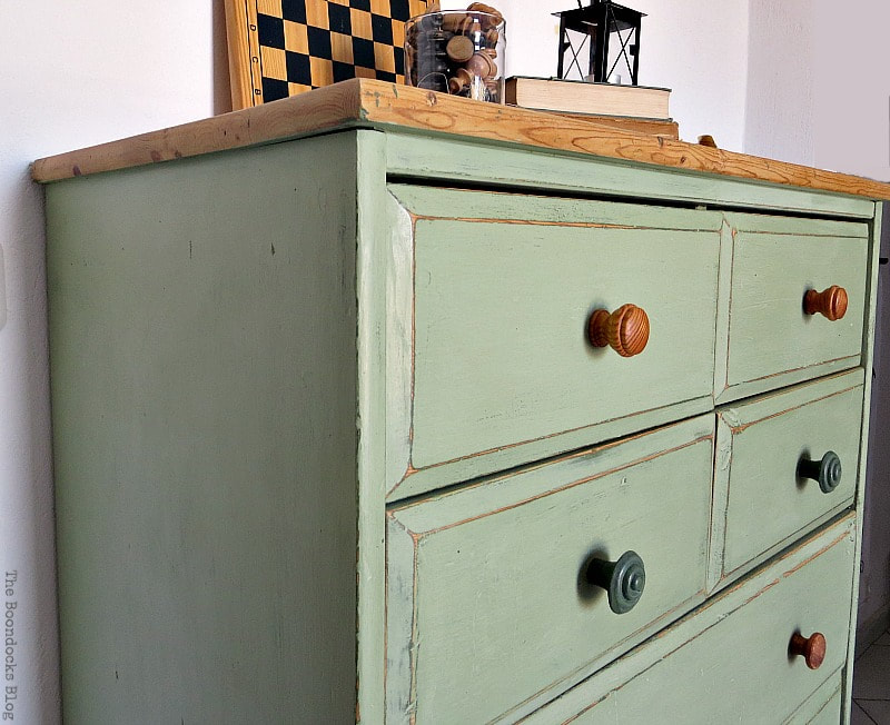 Ikea pine dresser painted in green