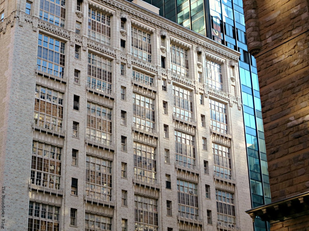 Delicate facade of New York Building, Looking Up at Luxurious Buildings in Manhattan www.theboondocksblog.com