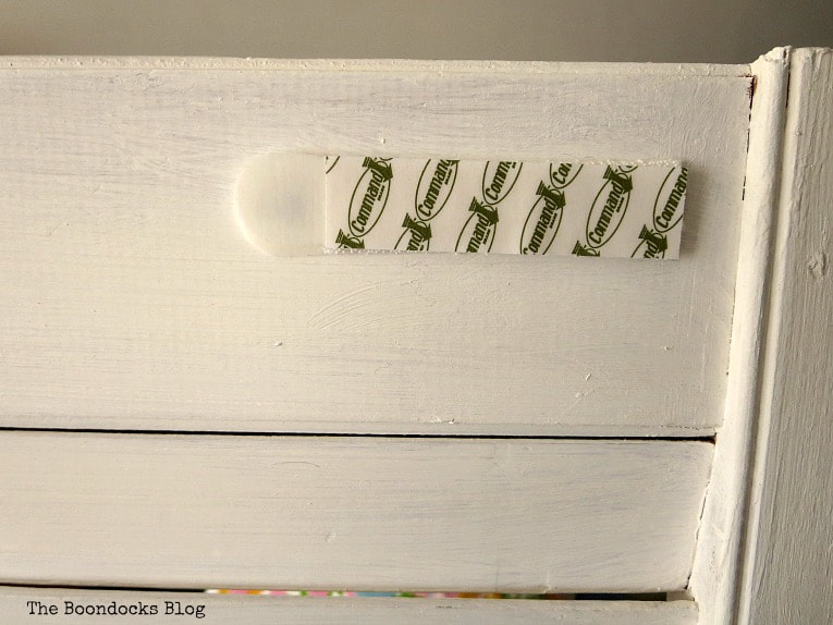 adding command strips to back of shutter, How to Make Shutter Art with a Stencil the Wrong Way www.theboondocksblog.com