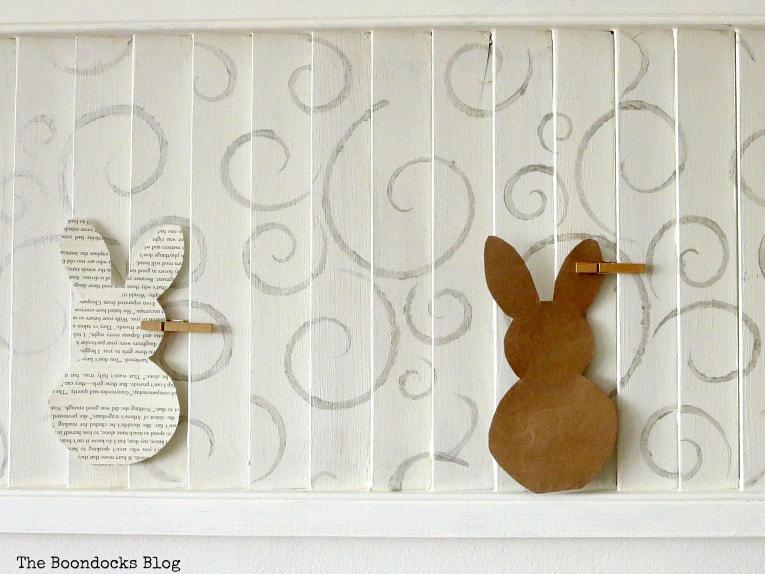 Stenciled shutter art with bunny cutouts, #shutterart #stenciledshutter #chalkyfinishpaint #DecoArtMedia #DIYArt #Stenciledswirls How to Make Shutter Art with a Stencil the Wrong Way www.theboondocksblog.com