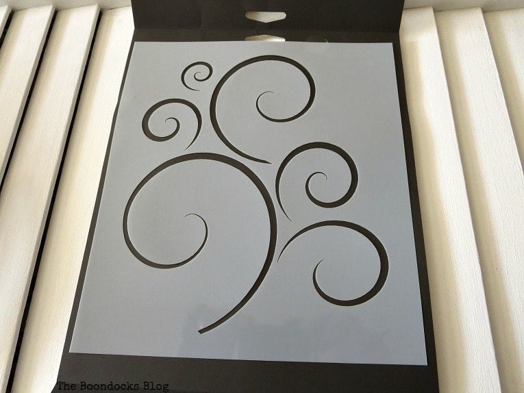Stencil with scrolls, How to Make Shutter Art with a Stencil the Wrong Way www.theboondocksblog.com