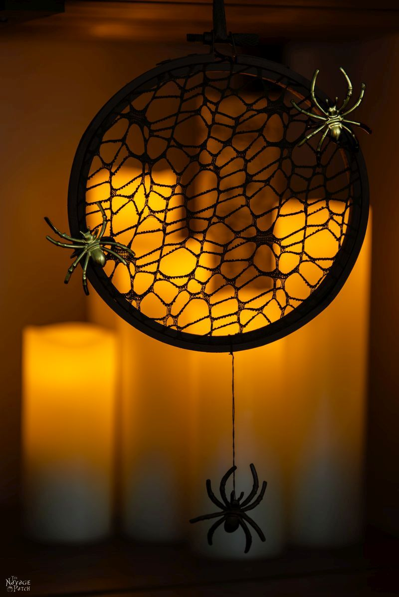 Spider Web wreath from the Navage Patch, 15 Household Items Re-purposed for Halloween Decor www.theboondocksblog.com