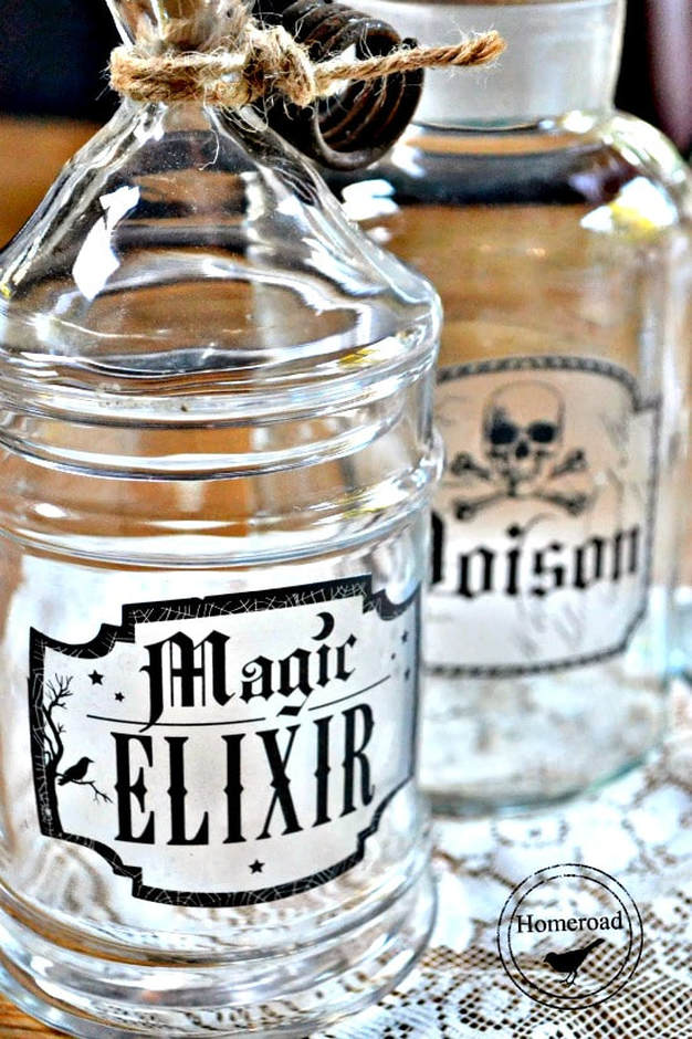 Bottles as elixir bottles from Homeroad, 15 Household Items Re-purposed for Halloween Decor www.theboondocksblog.com
