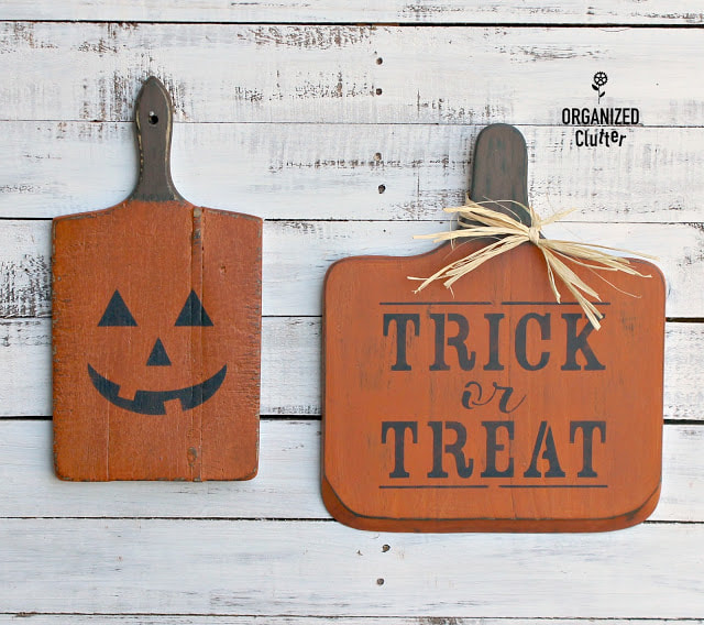 Cutting Boards for Halloween from Organized Clutter, 15 Household Items Re-purposed for Halloween Decor www.theboondocksblog.com
