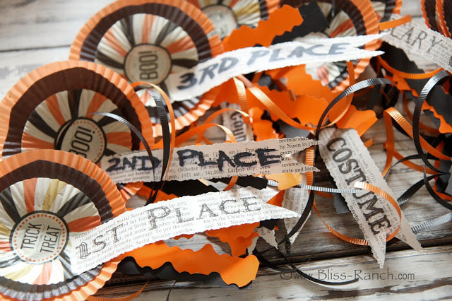 Award ribbons from Bliss Ranch Malone, 15 Household Items Re-purposed for Halloween Decor www.theboondocksblog.com
