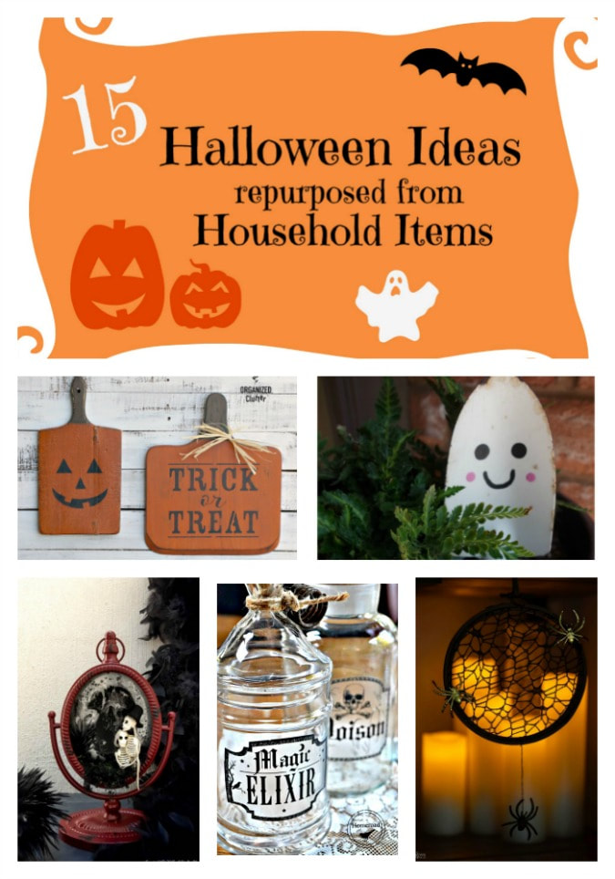 Re-purposing Household Items into Halloween Decor, #Halloween #HalloweenDecor #JackOLantern #Bottles #WItches #Ghosts #Mummies #Skeletons, #spiderwebs 15 Household Items Re-purposed for Halloween Decor www.theboondocksblog.com