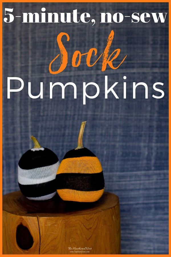 sock pumpkins from the Heathered Nest, 15 Household Items Re-purposed for Halloween Decor www.theboondocksblog.com