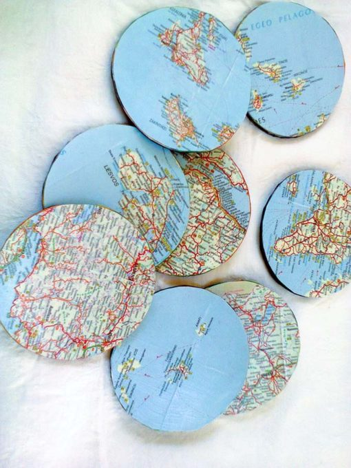 Coasters made from mousepad and maps, Father's Day Worldly Coasters www.theboondocksblog.com