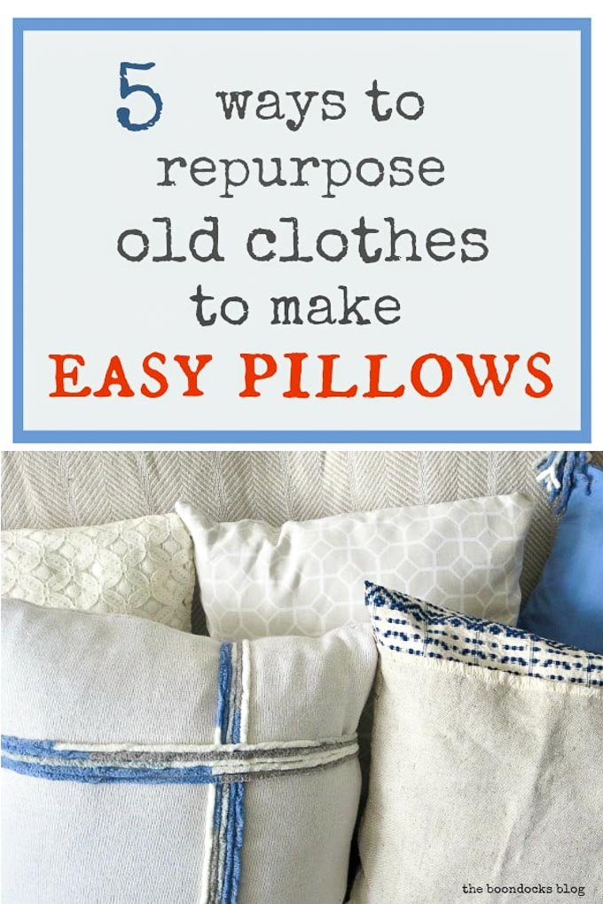 5 pillows made with fabric remnants of old clothes and sheets, #repurposedclothes #repurposedsheets #easypillowcovers #recycle #lacepillowcovers #sweaterpillow #teatowelpillowcover #fringedpillowcover #pillowcoverwithtassels How to Make Easy Pillows out of Fabric Remnants 5 ways www.theboondocksblog.com