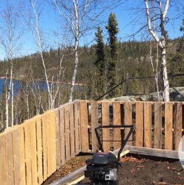 Pallet wood fence.