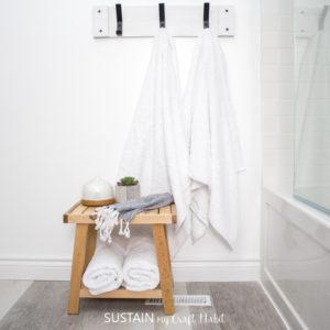 Pallet wood towel rack